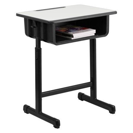 Flash Furniture Student Desk with Grey Top and Adjustable Height Black Pedestal