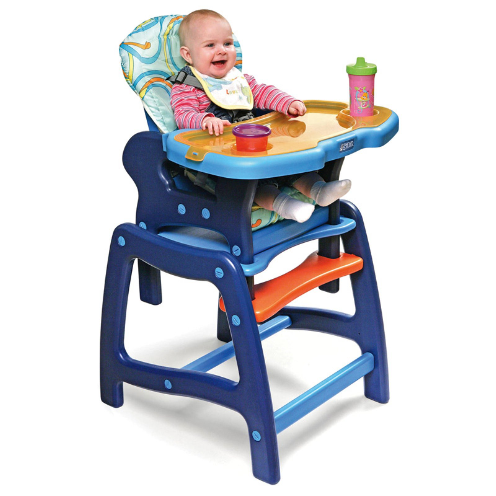 Badger Basket Envee Baby High Chair with Playtable Conversion, Blue by Badger Basket