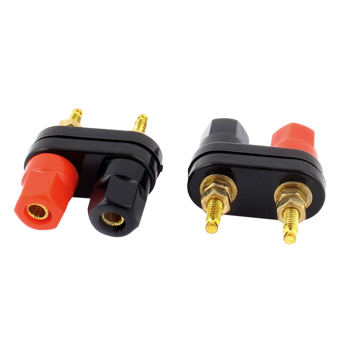 Unique Bargains Speaker Amplifier Terminal Binding Post Dual 2-way Banana Plug Jack 2 Pcs