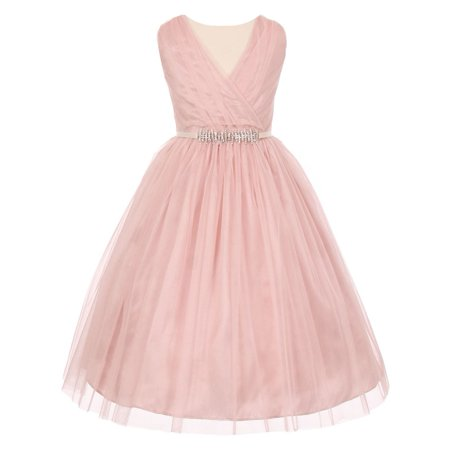 Big Girls Blush Pleated V-Neck Rhinestone Tulle Special Occasion Dress - Special Ocasion Dresses