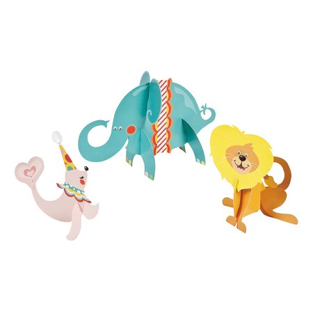 IN-3/8968 1st Birthday 3D Circus Character Centerpieces 1 Set(s) by Fun Express