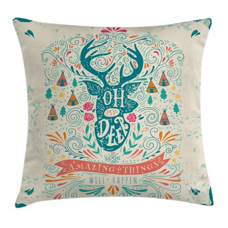 Vintage Decor Throw Pillow Cushion Cover, Reindeer with Antlers with Native American Tribal Element and Flowers Motivational, Decorative Square Accent Pillow Case, 20 X 20 Inches, Multi, by - Tribal Flowers