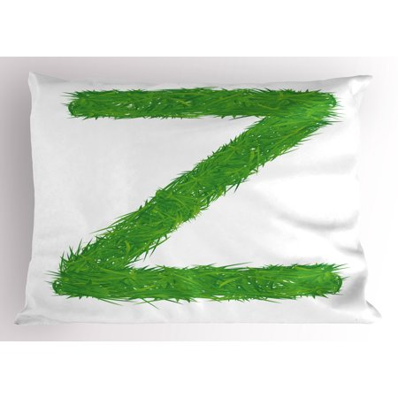 Letter Z Pillow Sham Spring Capital Z Made Out of Grass Ladybug Butterfly Daisy Chamomile Flowers, Decorative Standard Queen Size Printed Pillowcase, 30 X 20 Inches, Green Multicolor, by Ambesonne