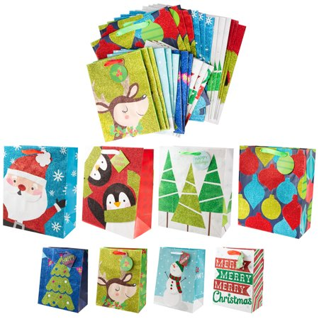 Christmas Bass - Assorted Christmas Gift Bags, 24ct