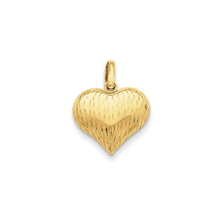 14k Yellow Gold Puffed Heart Charm