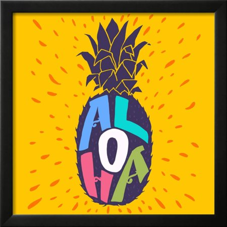 Aloha Hand Lettering in a Pineapple Silhouette. Fun Summer ...