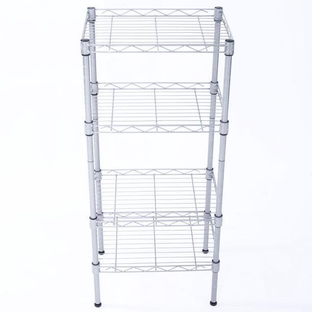 4 Shelf Wire Garage Shelves Silver, Adjustable Storage Shelves