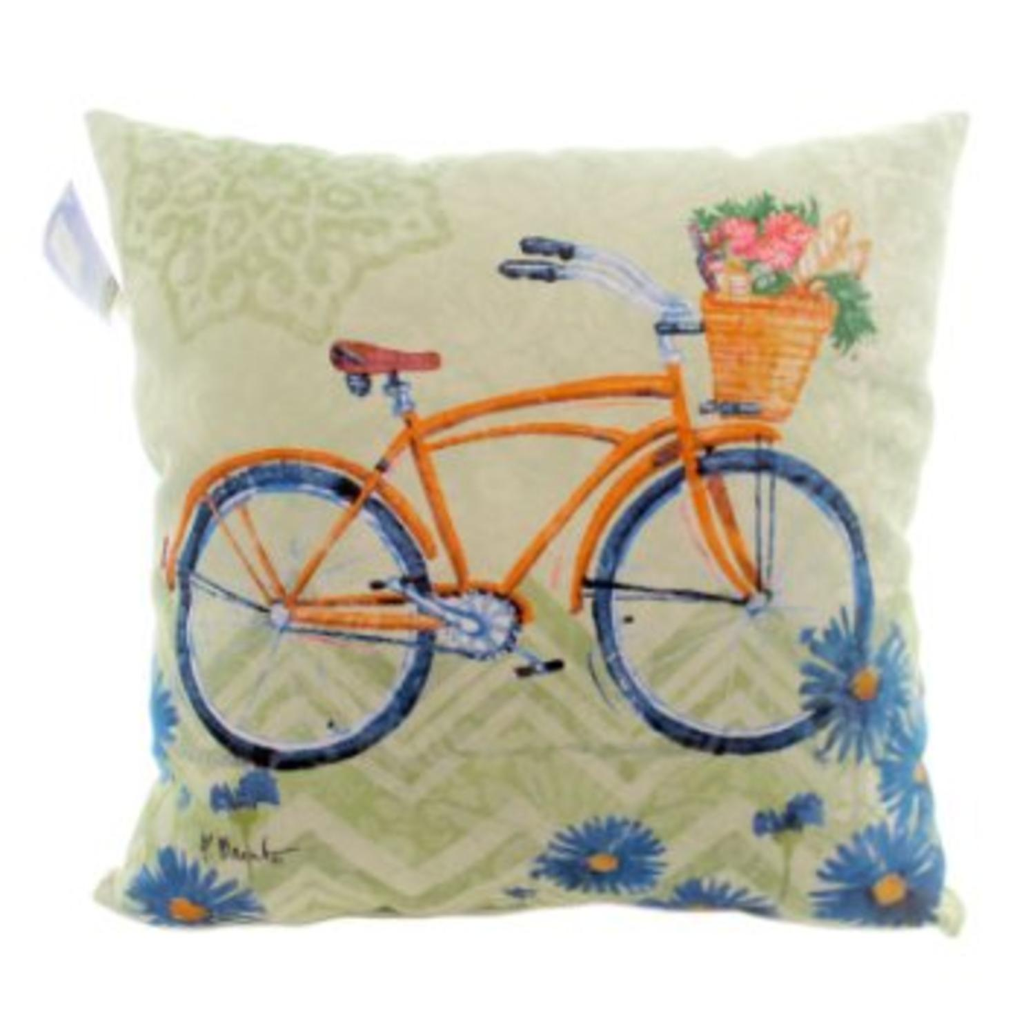 "18"" Decorative Multi-Color Bicycle Square Outdoor Throw Pillow - Polyester Down Filler"