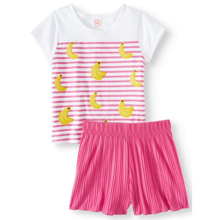 Tropical Fruit Tee and Pleated Short, 2-Piece Outfit Set (Little Girls, Big Girls & Plus) - Plus Size Mistress Outfit