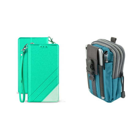 BC Synthetic PU Leather Magnetic Flip Cover Wallet Case (Mint Green) with Blue Gray Tactical EDC MOLLE Waist Pouch and Atom Cloth for Samsung Galaxy J7 Star (T-Mobile) - Mint Green Blue