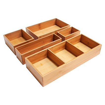 Seville Natural - New Seville 5 Piece Bamboo Organizer Boxes Natural (Assorted Sizes), Material: Bamboo Care and Cleaning: Wipe Clean with a Dry Cloth By Seville Classics