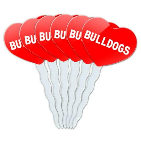 Bulldogs Heart Love Cupcake Picks Toppers - Set of (Bulldog Door Topper)