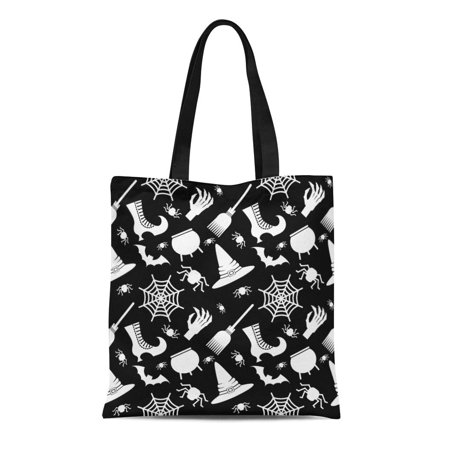 ASHLEIGH Canvas Tote Bag Abstract Halloween Flat Cartoon Cauldron Cobweb Color Dark Geometric Reusable Shoulder Grocery Shopping Bags Handbag (Cauldron Handbag)