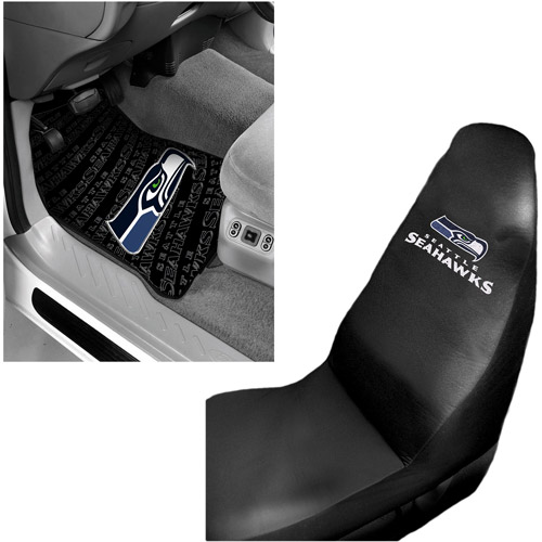 NFL Seattle Seahawks 2 pc Front Floor Mats and Seattle Seahawks Car Seat Cover