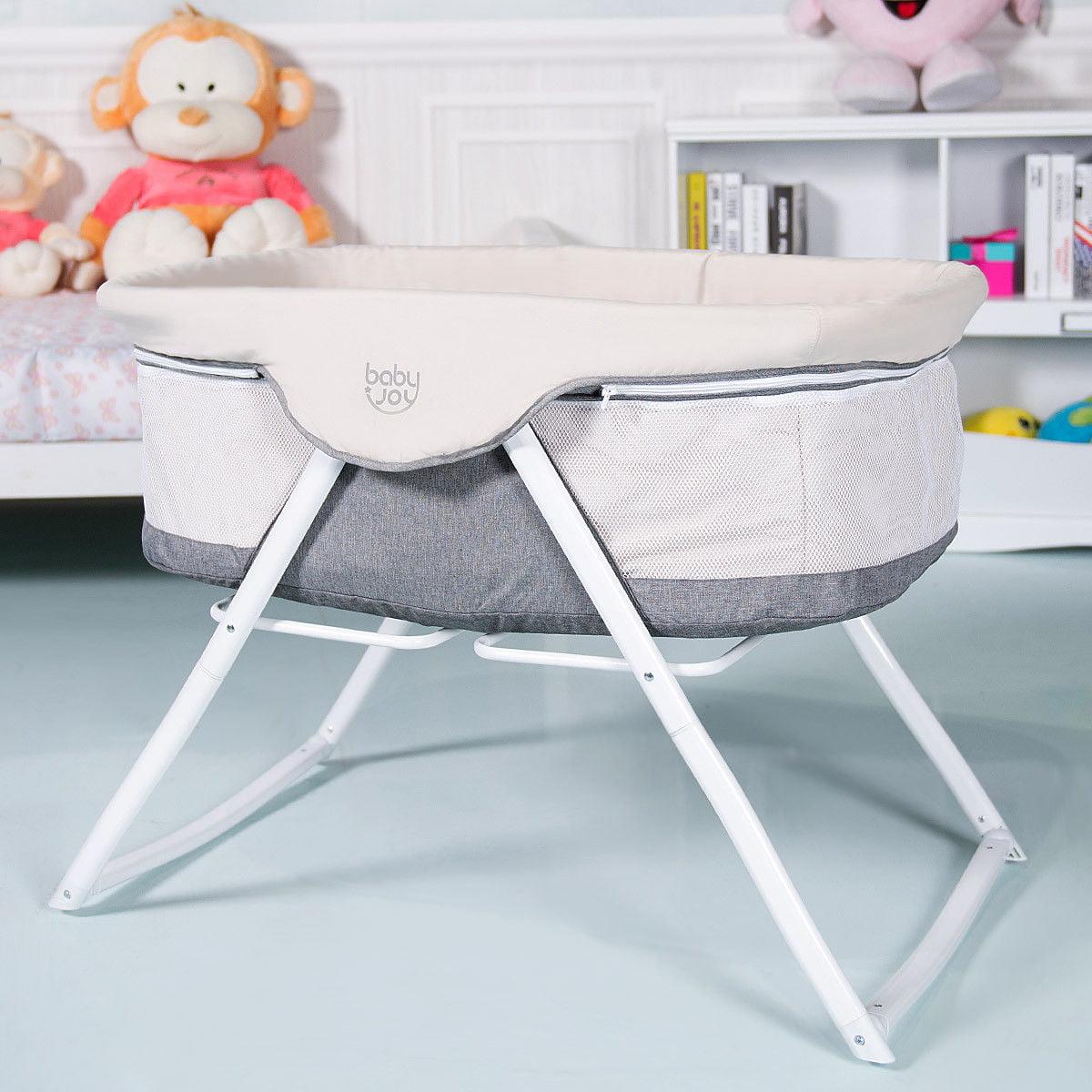 BabyJoy Foldaway Baby Bassinet Crib Newborn Rocking Sleeper Traveler Portable /Bag Gray