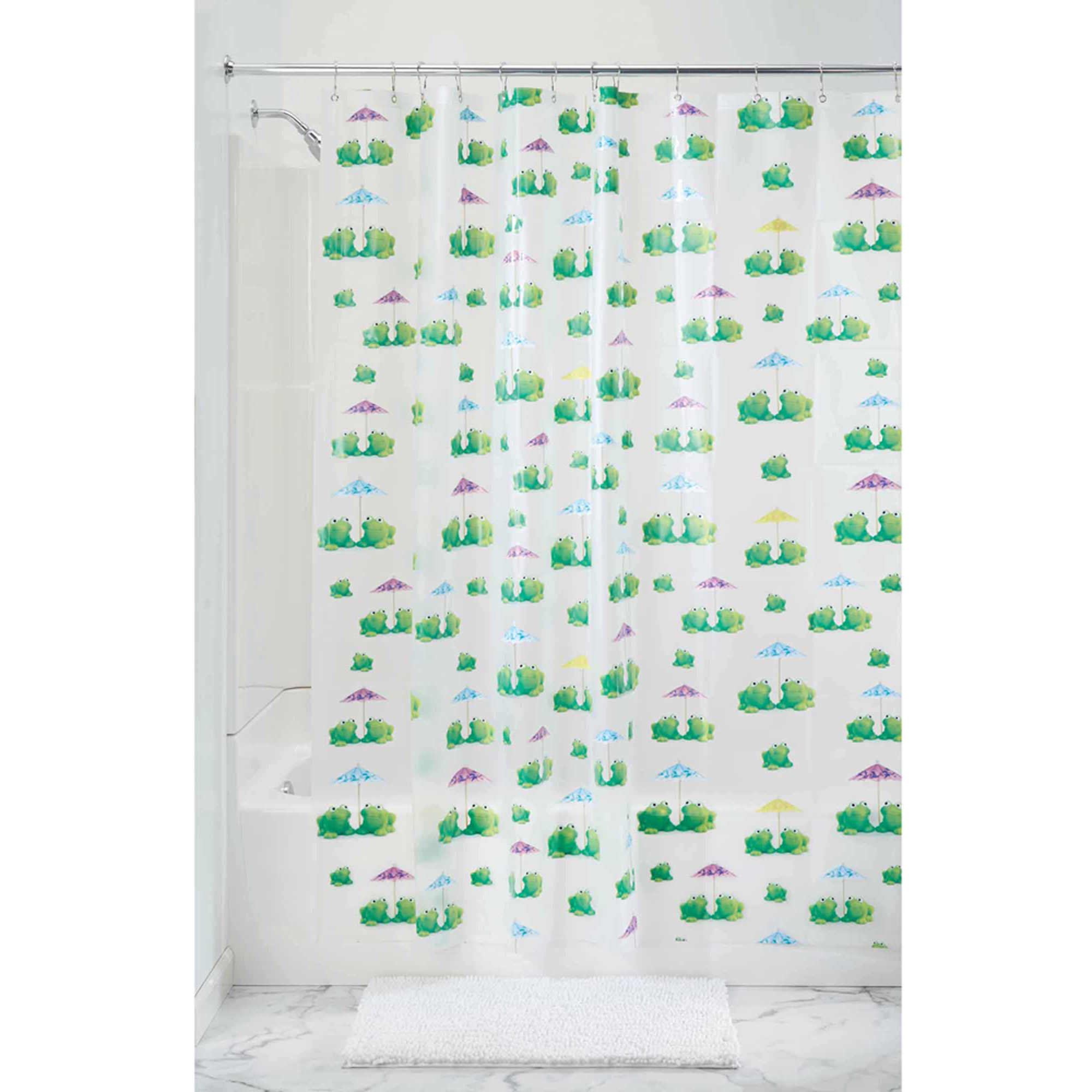 "InterDesign Frogs Shower Curtain- PVC Free ,72"" x 72"", Green"