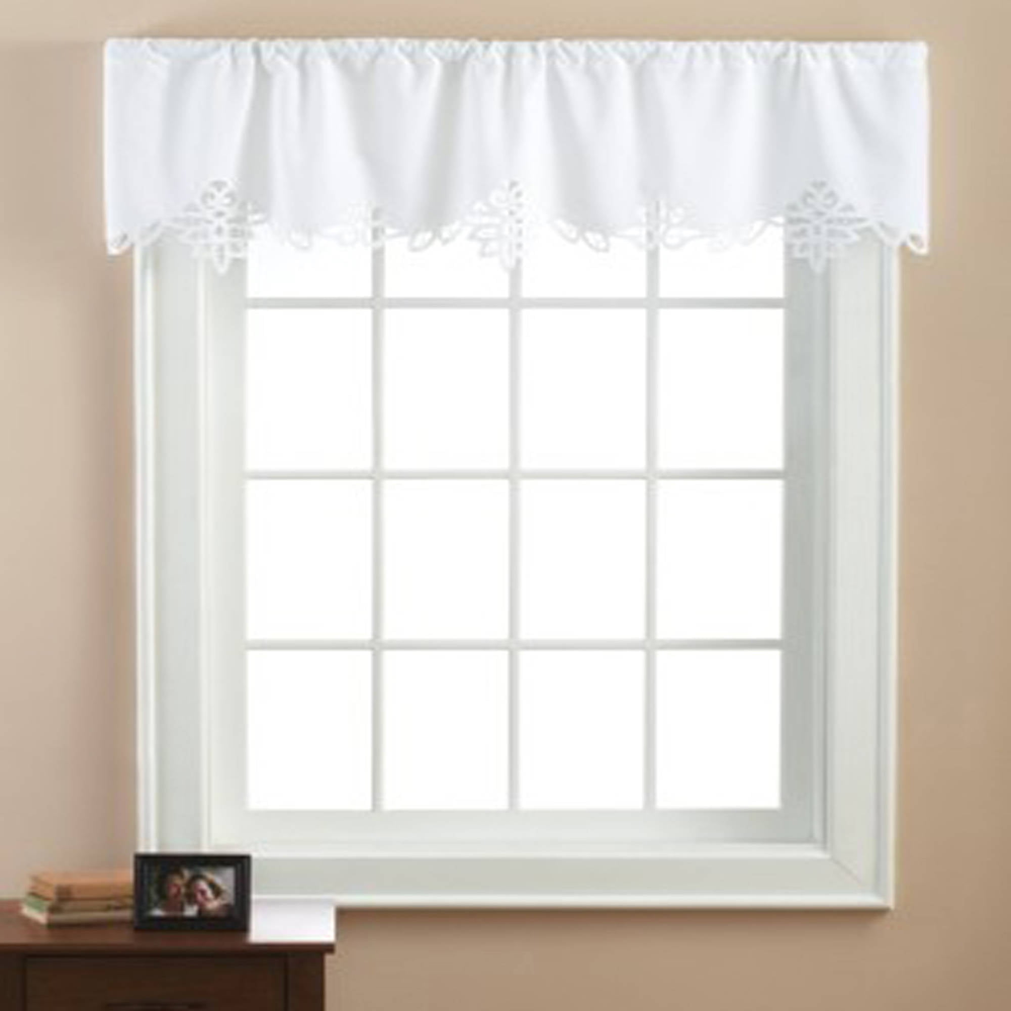 Beautiful Mainstays Battenburg White Lace Window Valance   Walmart.com
