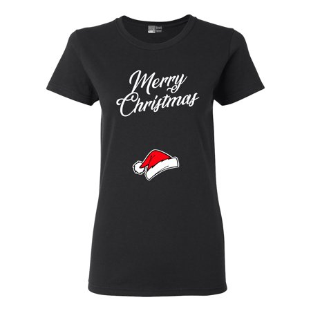 Ladies Merry Christmas Baby Hat Pregnancy Expectant Mom Funny DT T-Shirt Tee