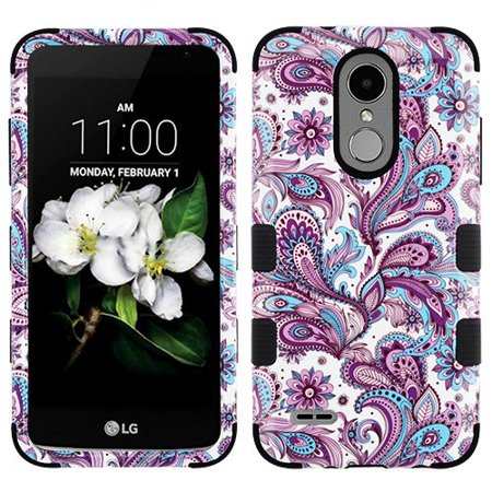 For LG Tribute Dynasty IMPACT TUFF HYBRID Protector Case Skin Phone Cover (Purple European Flowers)
