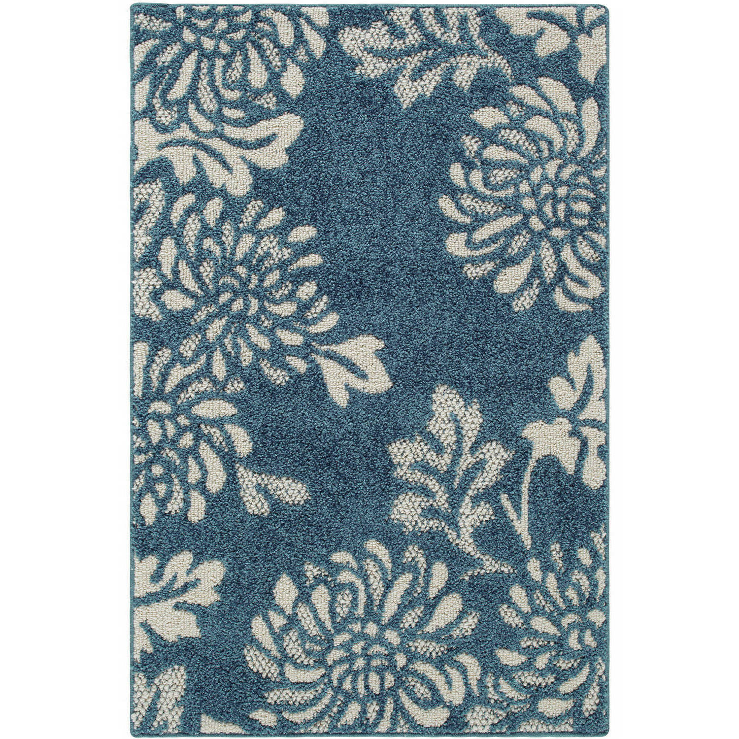 Click here to buy Better Homes & Gardens Blue Floral Mums Accent Rugs and Runner by Maples Industries, Inc..
