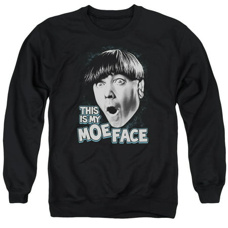 THREE STOOGES/MOE FACE - ADULT CREWNECK SWEATSHIRT - BLACK - 3X