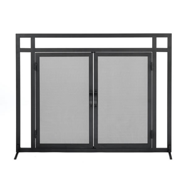Woodfield Mission Style Black Wrought Iron Fireplace Screen W/doors