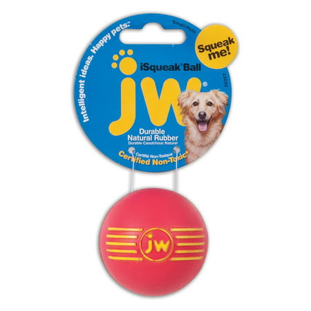JW Pet Company iSqueak Ball Rubber Dog Toy, Small, Colors Vary The iSqueak Ball Small is a classically designed natural rubber ball with an engaging squeak your dog will love. The iSqueak Ball has the JW brand proudly displayed on each and every toy. This durable bouncy ball is suitable for puppies and small breed dogs.Color : color may varySize : SmallFeatures :Vibrant and rugged natural rubber squeaking ballInfused with vanilla extractAvailable in three assorted bright colorsEasily washable and fade resistantThe small iSqueak Ball is perfect for puppies and small breeds