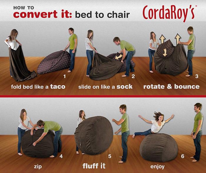 Outstanding Cordaroys Chenille Convertible Bean Bag Chair Full Uwap Interior Chair Design Uwaporg