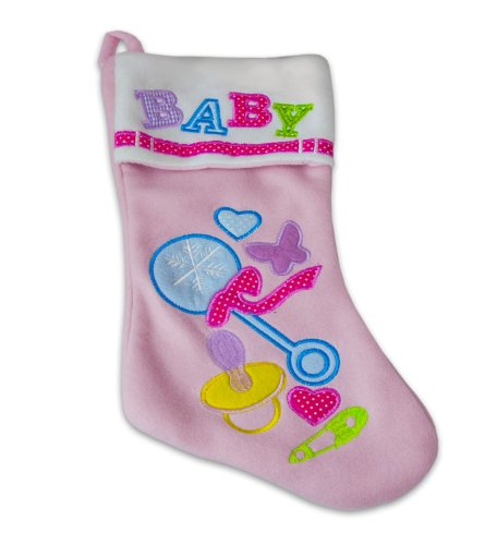 Home For The Holidays Pink Baby Christmas Stocking