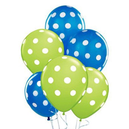 Polka Dot Balloons 11inch Premium Sapphire Blue and Lime Green with All-Over Print White Dots Pkg/25, Superior Quality - Longer Lasting - Brilliant Colors By PMU](Green Polka Dot Balloons)