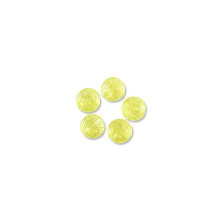Czech Pressed Glass Button Bead 13mm Lemon Drop Lustre (Luster Flower Czech Pressed Glass)