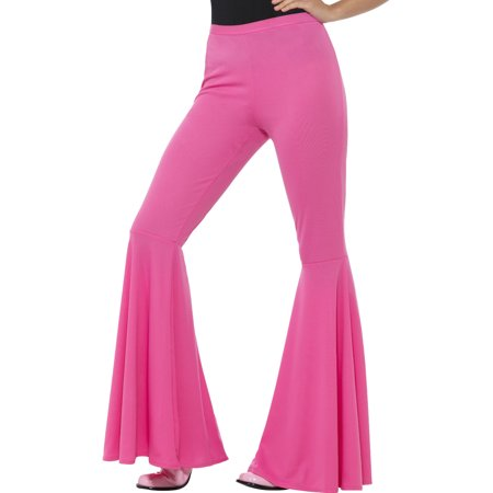 Women's Pink 70s Flared Groovy Disco Pants Costume Small-Medium 6-12
