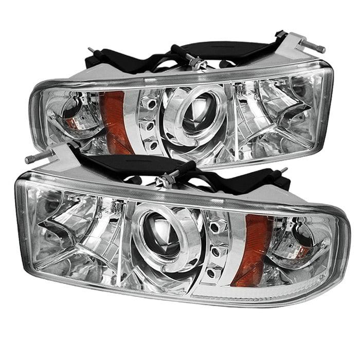 For 94-01 Dodge Ram LED Projector Headlights+Halo Pro Fog Lamp+Switch+Bulb