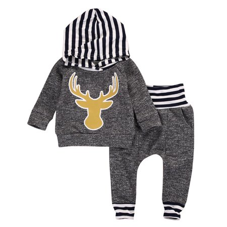 1f707606 Toddler Infant Baby Boys Dinosaur Long Sleeve Hoodie Tops Sweatsuit Pants  Outfit Set