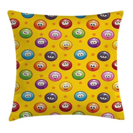 Emoji Throw Pillow Cushion Cover, Smiley Surprised Grumpy Sad Happy Mood Faces Background with Little Stars Art Print, Decorative Square Accent Pillow Case, 24 X 24 Inches, Multicolor, by Ambesonne - Smiley Face Cushion