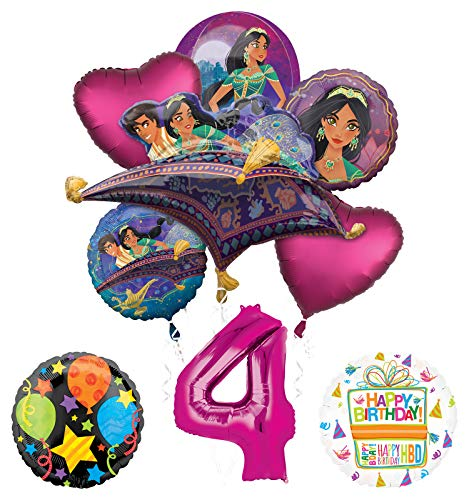 Mayflower Products Aladdin 4th Birthday Party Supplies Princess Jasmine Balloon Bouquet Decorations - Pink Number - Jasmine Birthday Party Supplies