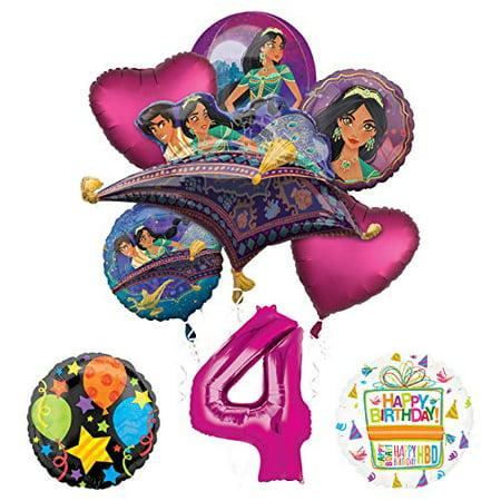 Princess Jasmine Birthday Party Supplies (Mayflower Products Aladdin 4th Birthday Party Supplies Princess Jasmine Balloon Bouquet Decorations - Pink Number)