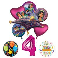 Mayflower Products Aladdin 4th Birthday Party Supplies Princess Jasmine Balloon Bouquet Decorations - Pink Number 4