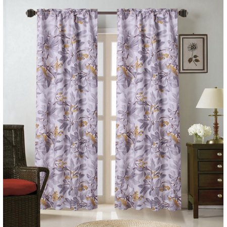- WARDA-12 Forest Leaf  2pc Foam Backing Insulated Printed Window Dressing Curtain Set, Two (2) Lined Rod Pocket Panels 37