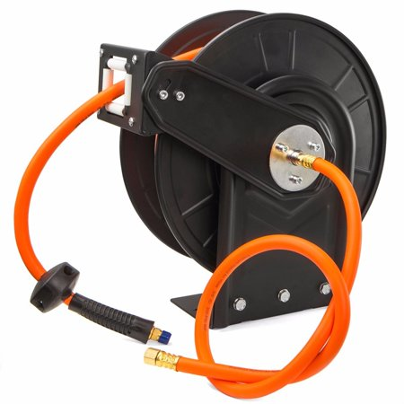 GHP 300PSI Metal Frame Auto Rewind Air Hose Reel with 3/8