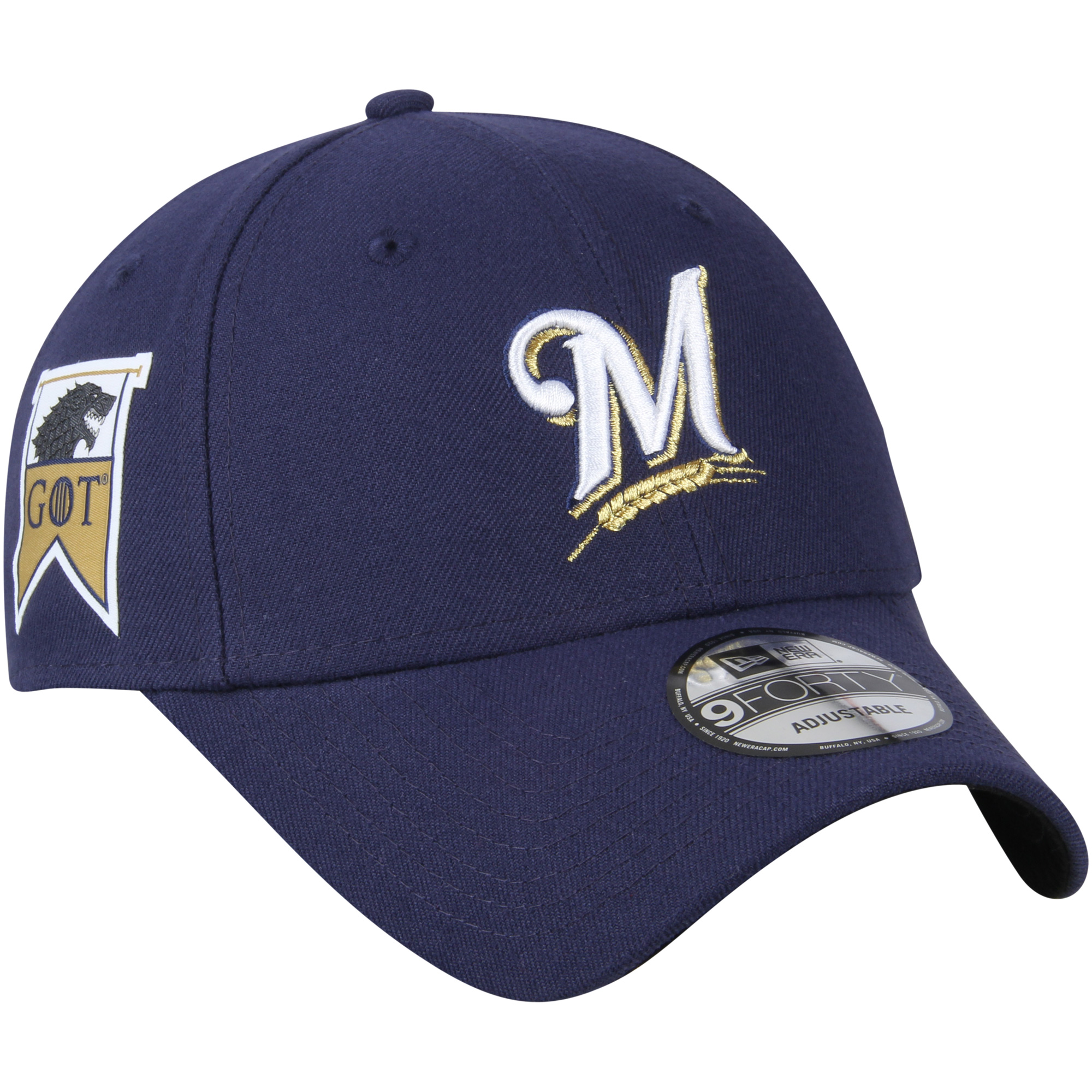 Milwaukee Brewers New Era Game of Thrones 9FORTY Adjustable Hat - Navy - OSFA
