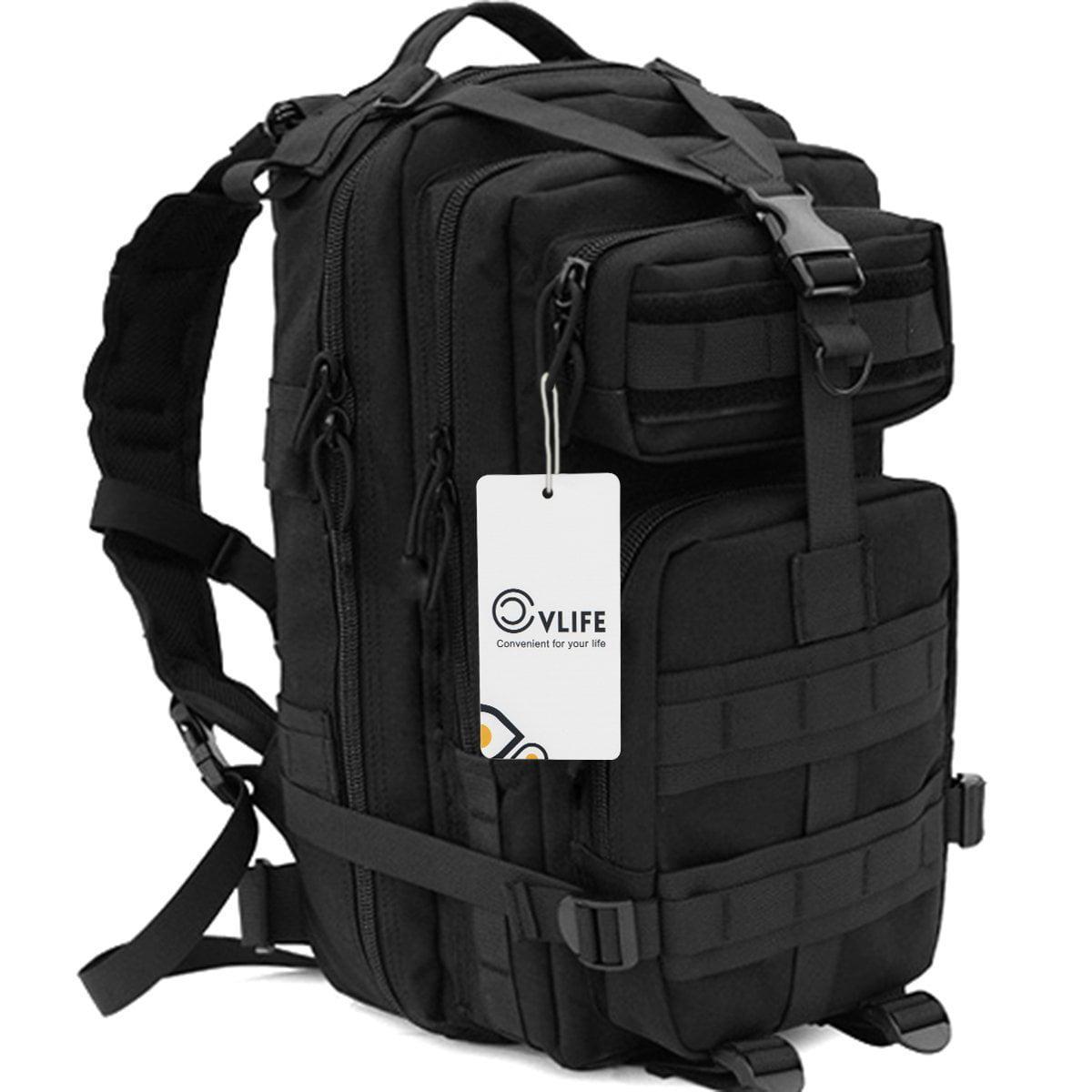 CVLIFE Outdoor Tactical Backpack Military Rucksacks for Camping Hiking and Trekking Waterproof 30L (Black)