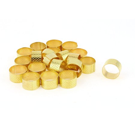 21 Pcs 21mm Diameter Gold Tone Metal Ring Reeded Thimble for Tailoring Sewing