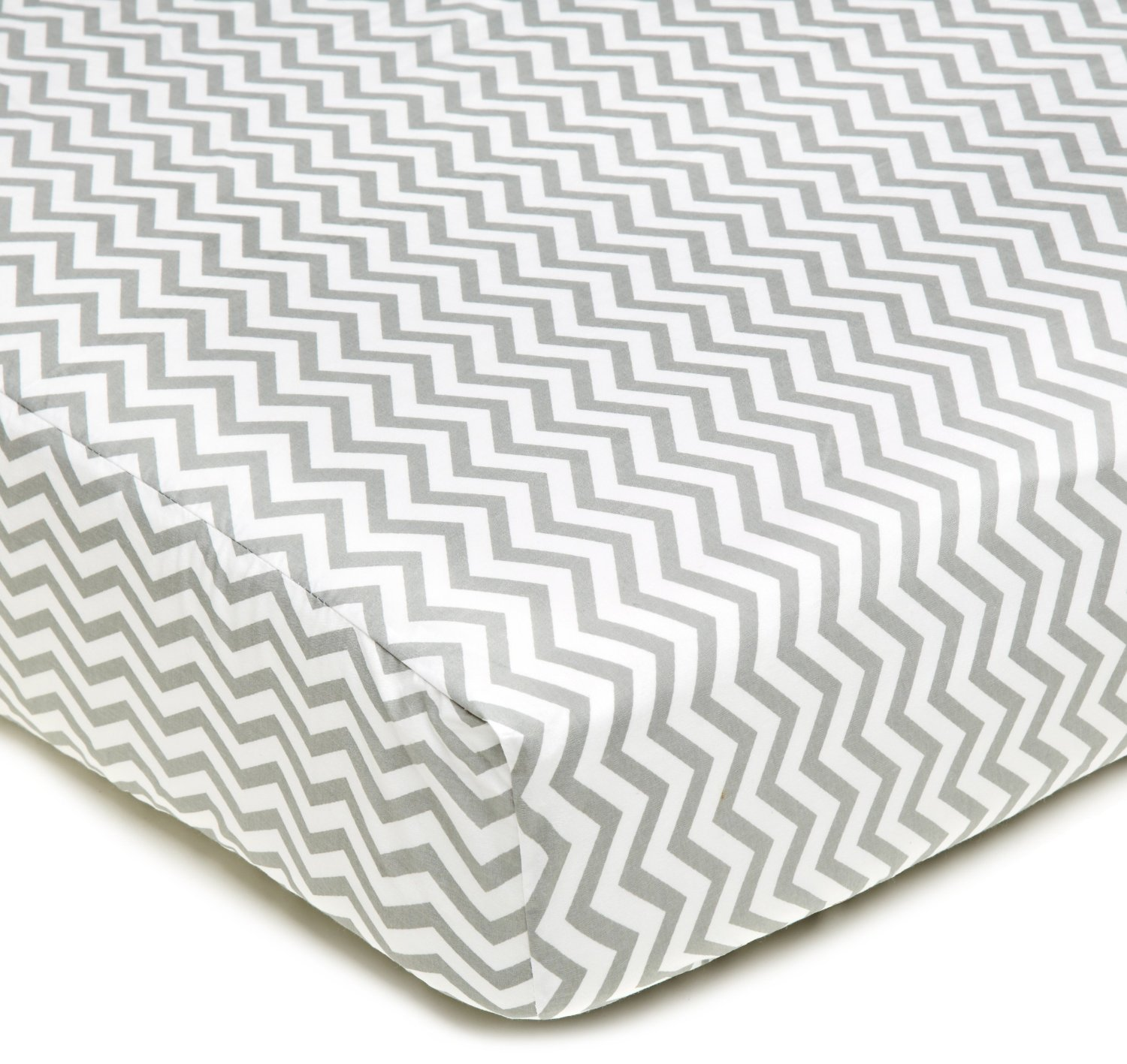 American Baby Company 100% Cotton Percale Crib Sheet - Gray Zigzag