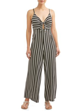 ff905a28bbb Product Image Juniors  Striped Knotted Front Cropped Wide Leg Jumpsuit