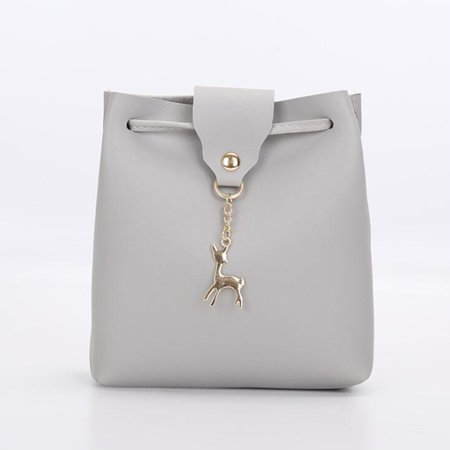 1f1abc24557 Meigar Women Leather Bucket Mini Shoulder Bag Lady Crossbody Deer Pendant  Handbag Purse
