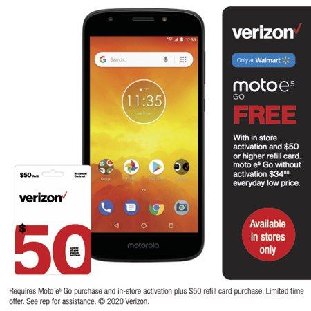 Verizon Wireless Motorola e5 Go 16GB Prepaid Smartphone, Black