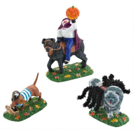 Department 56 Halloween Village Who Let The Dogs Out 2012 Set of 3 for $<!---->