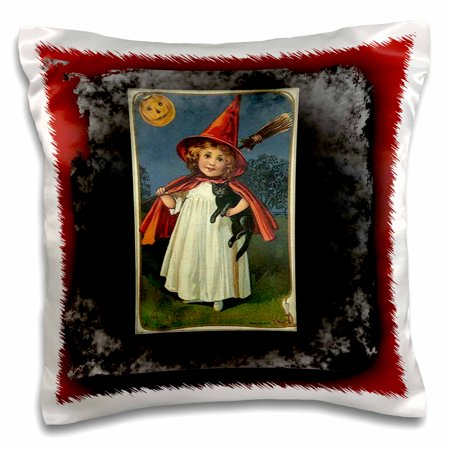 3dRose Vintage Halloween Witch Girl and Black Cat - Pillow Case, 16 by 16-inch