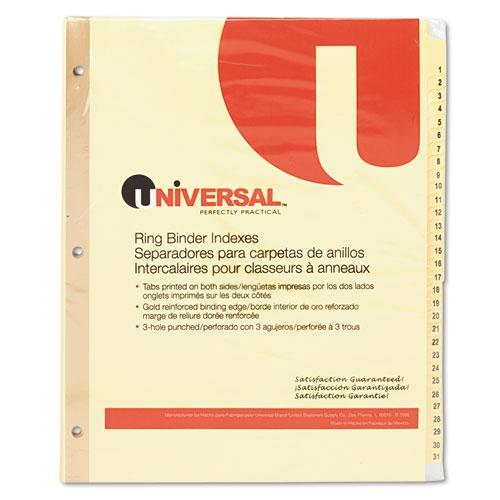 Universal Preprinted Plastic-Coated Tab Dividers, 31/Set (Set of 3)